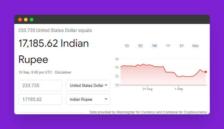 conversion rate of usd to inr on 11 sep 2021
