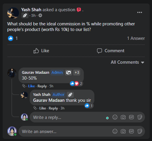 Facebook Ads discussion inside group