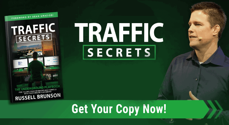 image of russell brunson with traffic secrets book